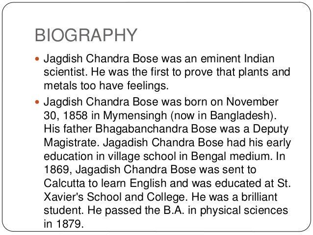 jagadish chandra bose biography