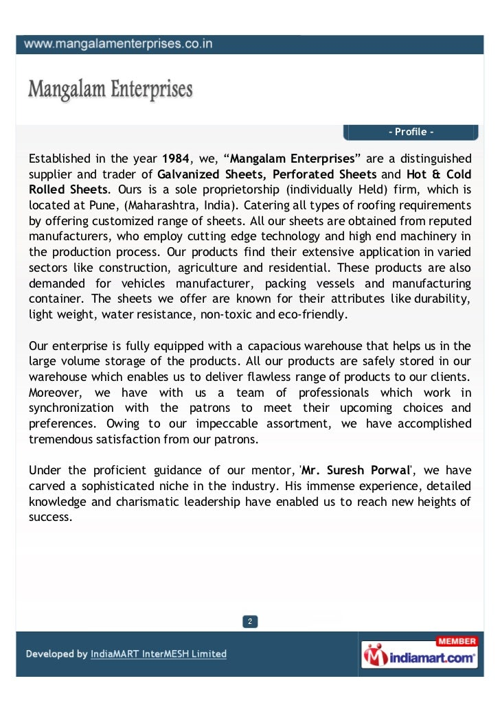 """- Profile -Established in the year 1984, we, """"Mangalam Enterprises"""" are a distinguishedsupplier and trader of Galvanized S..."""