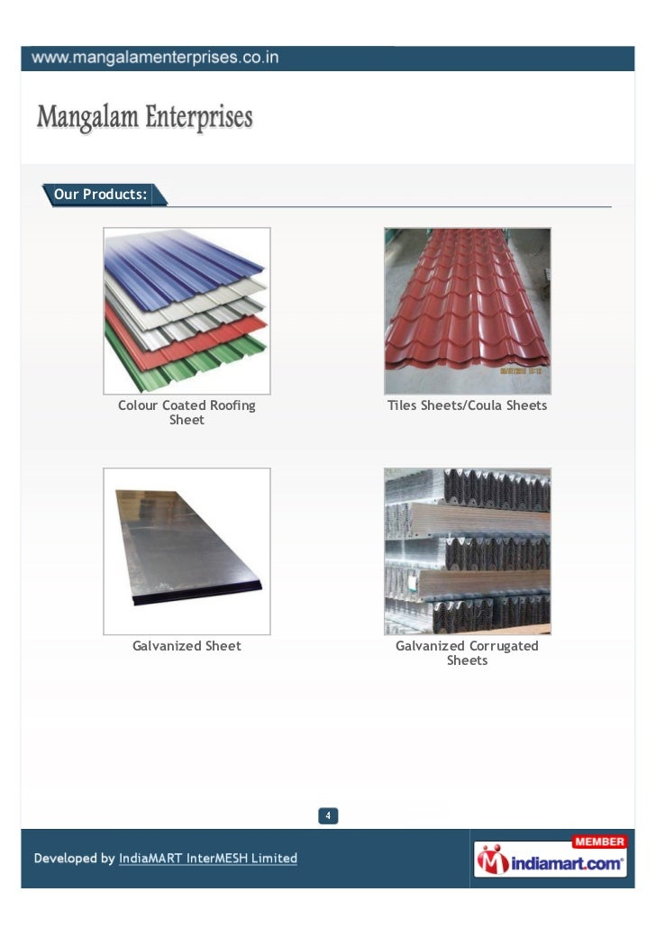 Our Products:        Colour Coated Roofing   Tiles Sheets/Coula Sheets                Sheet          Galvanized Sheet     ...