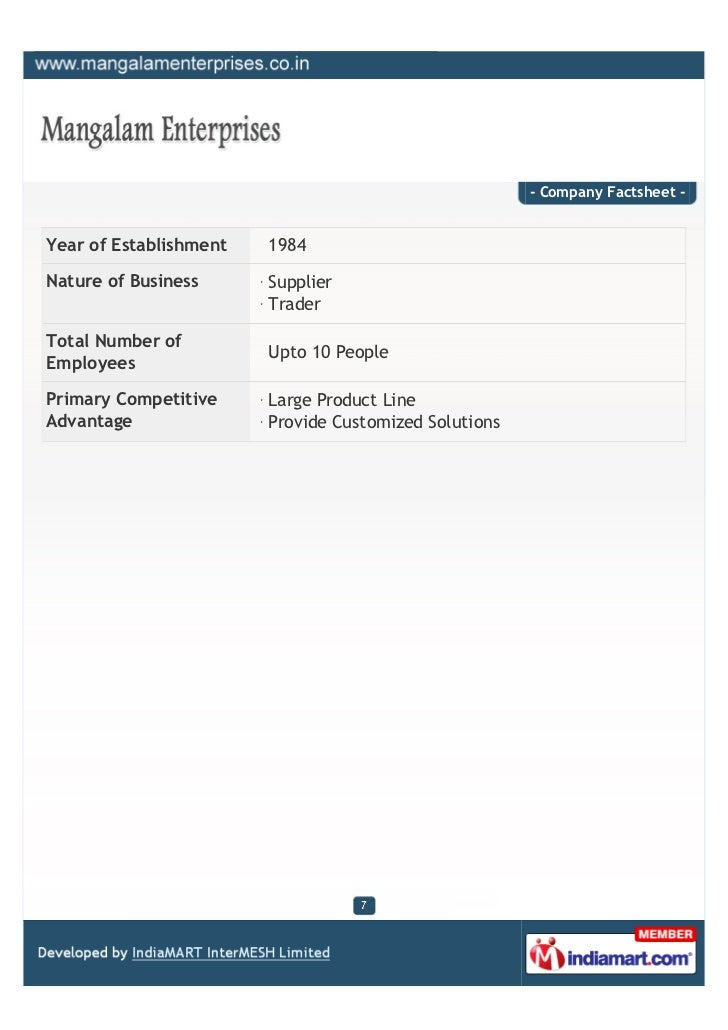 - Company Factsheet -Year of Establishment   1984Nature of Business      Supplier                        TraderTotal Numbe...