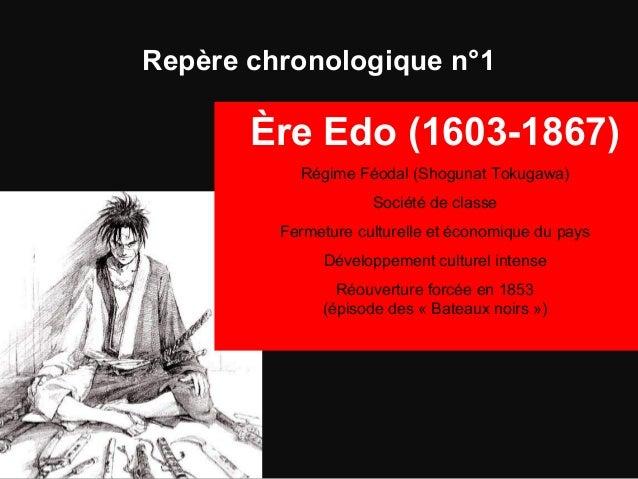 Repère chronologique n°1 Ère Edo (1603-1867) Régime Féodal (Shogunat Tokugawa) Société de classe Fermeture culturelle et é...