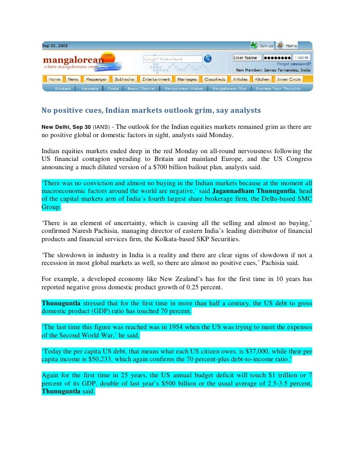 Manglorean Sept 29, 2008 - No positive cues, Indian markets