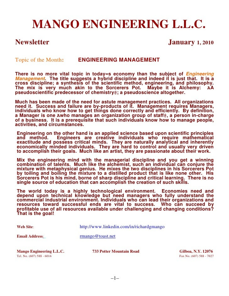 MANGO ENGINEERING L.L.C.Newsletter    January 1, 2010<br />Topic of the Month:          ENGINEERING MANAGEMENT<br />The...