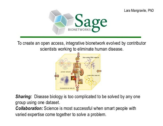 Lara Mangravite, PhD To create an open access, integrative bionetwork evolved by contributor             scientists workin...