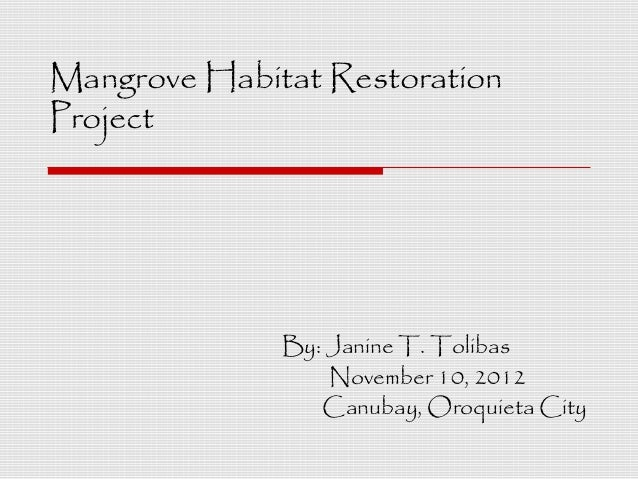 Mangrove Habitat RestorationProject              By: Janine T. Tolibas                  November 10, 2012                 ...