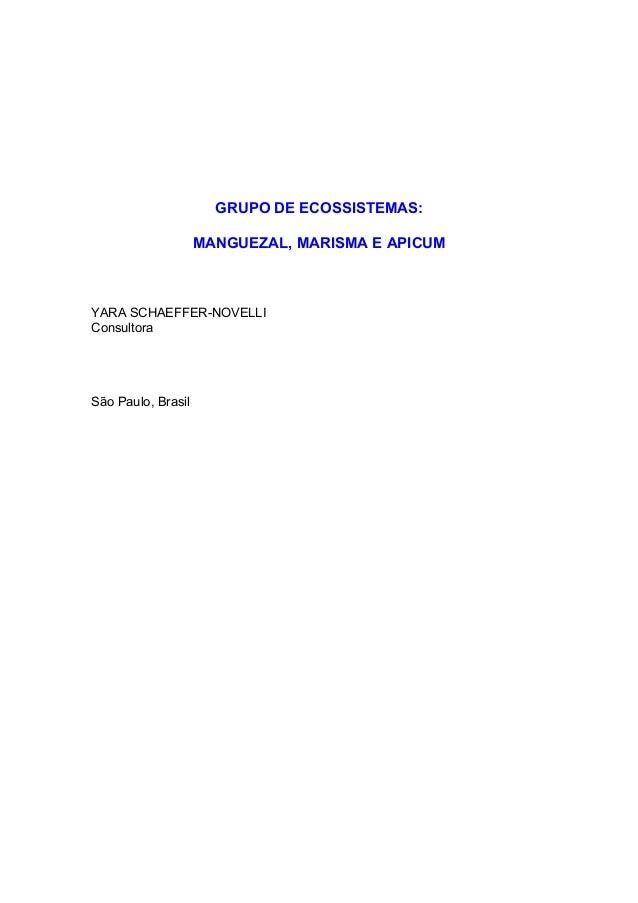 GRUPO DE ECOSSISTEMAS: MANGUEZAL, MARISMA E APICUM YARA SCHAEFFER-NOVELLI Consultora São Paulo, Brasil