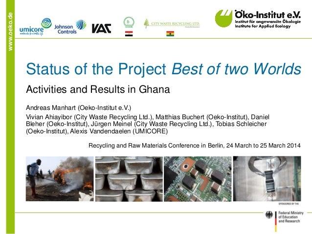 www.oeko.de Status of the Project Best of two Worlds Activities and Results in Ghana Andreas Manhart (Oeko-Institut e.V.) ...
