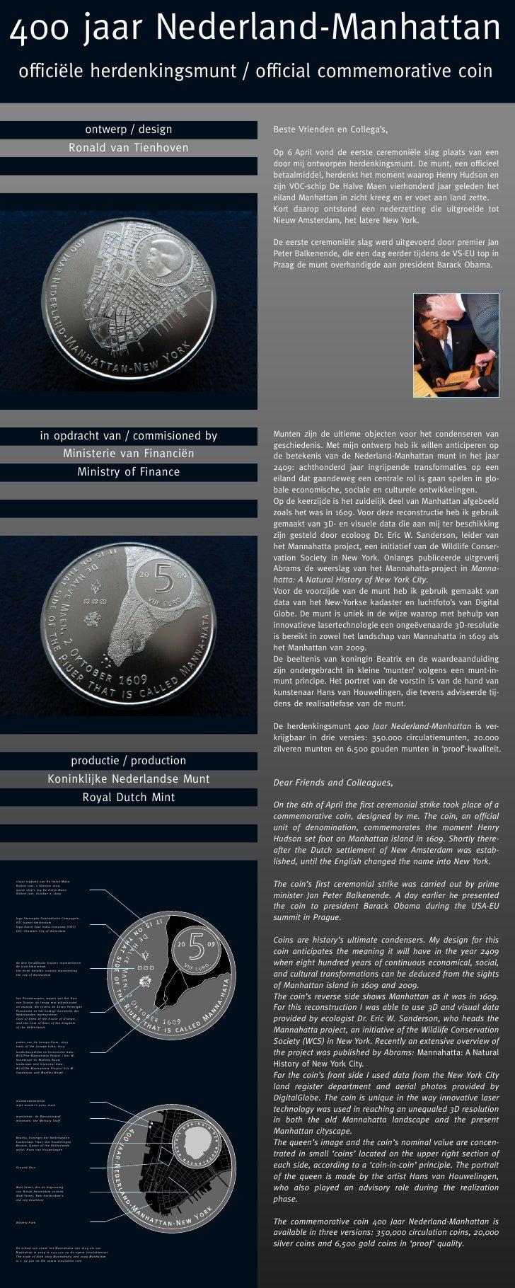 400 jaar Nederland-Manhattan  officiële herdenkingsmunt / official commemorative coin                                     ...