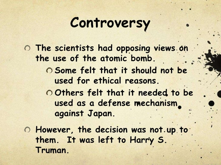 Atomic Bomb Pros and Cons List