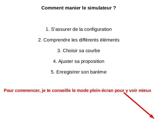 Comment manier le simulateur ? 1. S'assurer de la configuration 2. Comprendre les différents éléments 3. Choisir sa courbe...