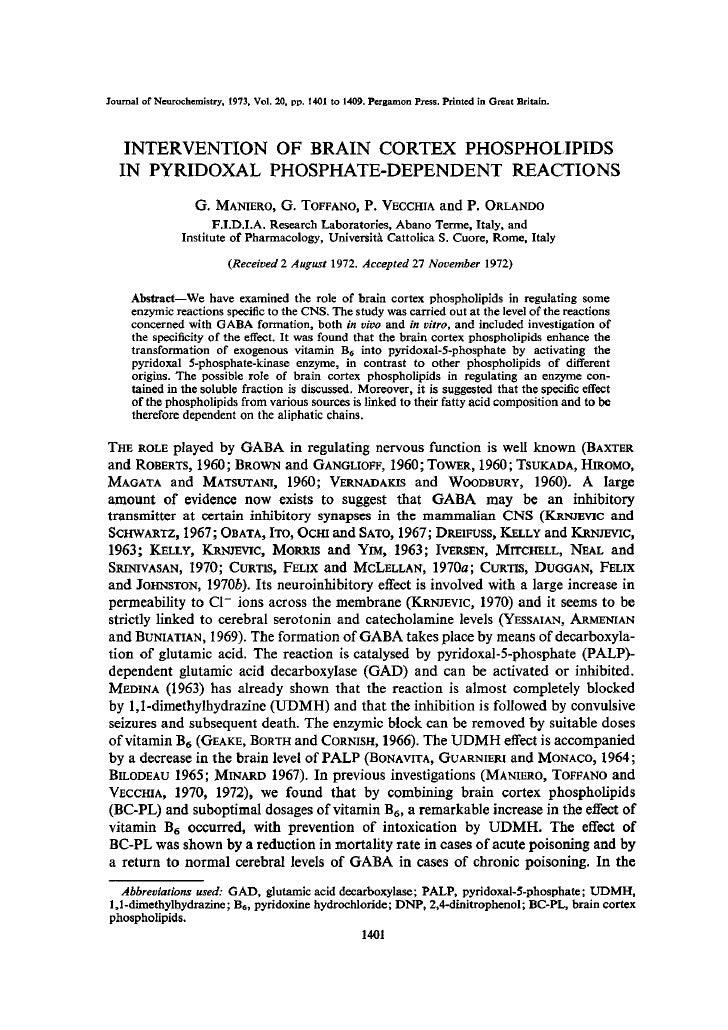 Applicazione di fosfolipidi della corteccia cerebrale in reazioni dipendenti dal piridossal fosfato