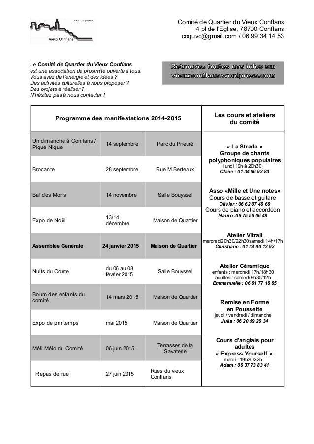 Comité de Quartier du Vieux Conflans  4 pl de l'Eglise, 78700 Conflans  coquvc@gmail.com / 06 99 34 14 53  Le Comité de Qu...