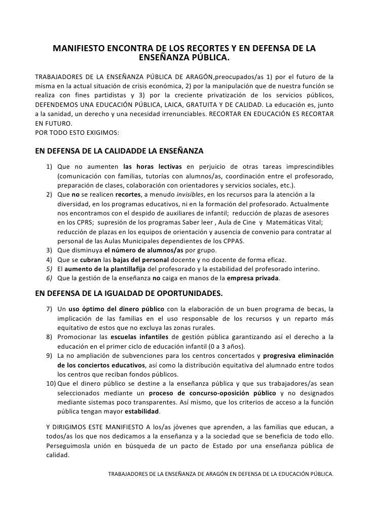 MANIFIESTO ENCONTRA DE LOS RECORTES Y EN DEFENSA DE LA ENSEÑANZA PÚBLICA.<br />TRABAJADORES DE LA ENSEÑANZA PÚBLICA DE ARA...