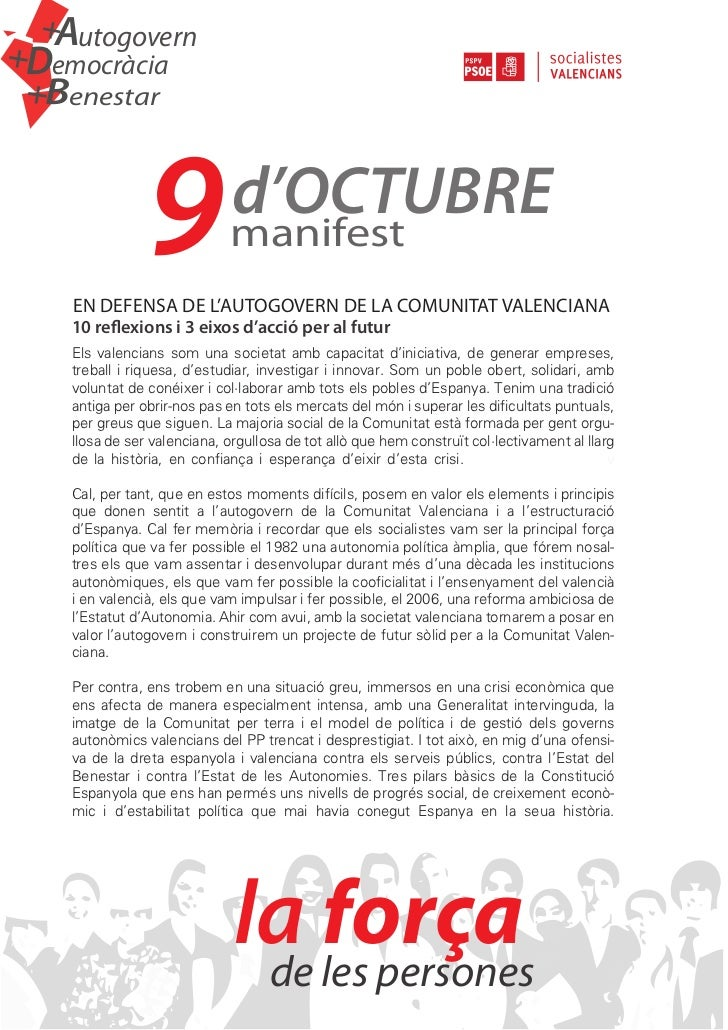 +   AutogovernDemocràcia+    Benestar+                 9             d'OCTUBRE                               manifest     ...