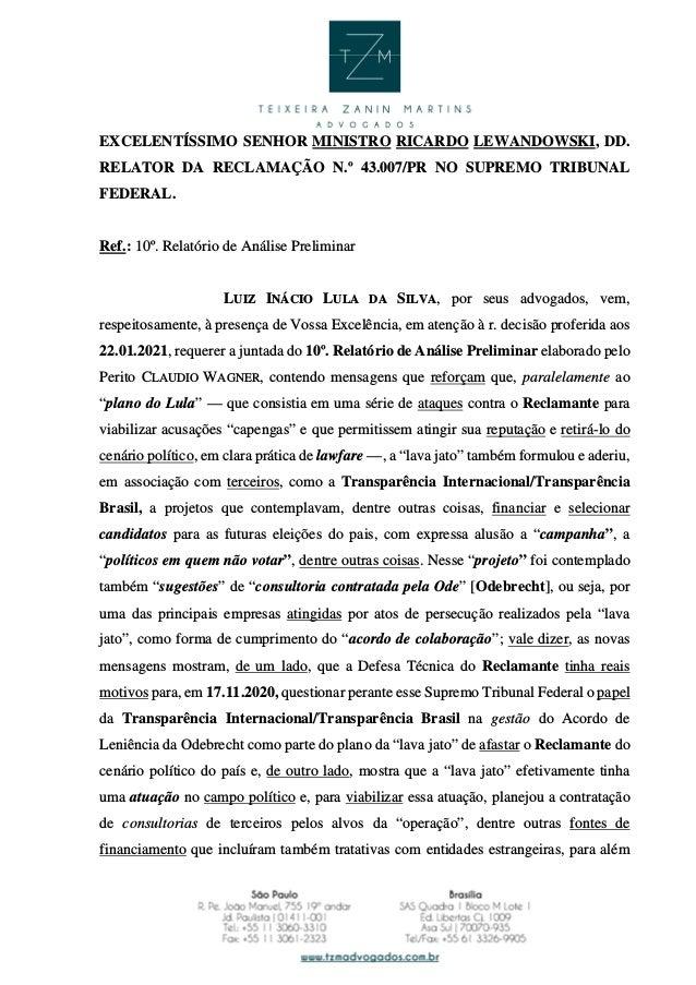 EXCELENTÍSSIMO SENHOR MINISTRO RICARDO LEWANDOWSKI, DD. RELATOR DA RECLAMAÇÃO N.º 43.007/PR NO SUPREMO TRIBUNAL FEDERAL. R...