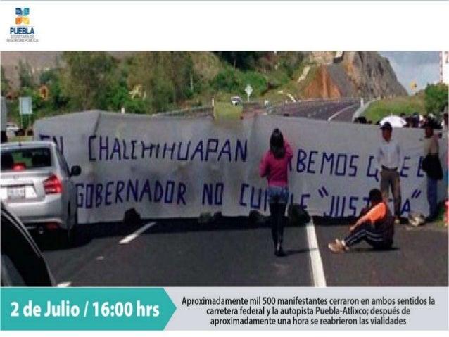 Version de la Policía Estatal de la confrontación con manifestantes en la Carretera Puebla-Atlixco