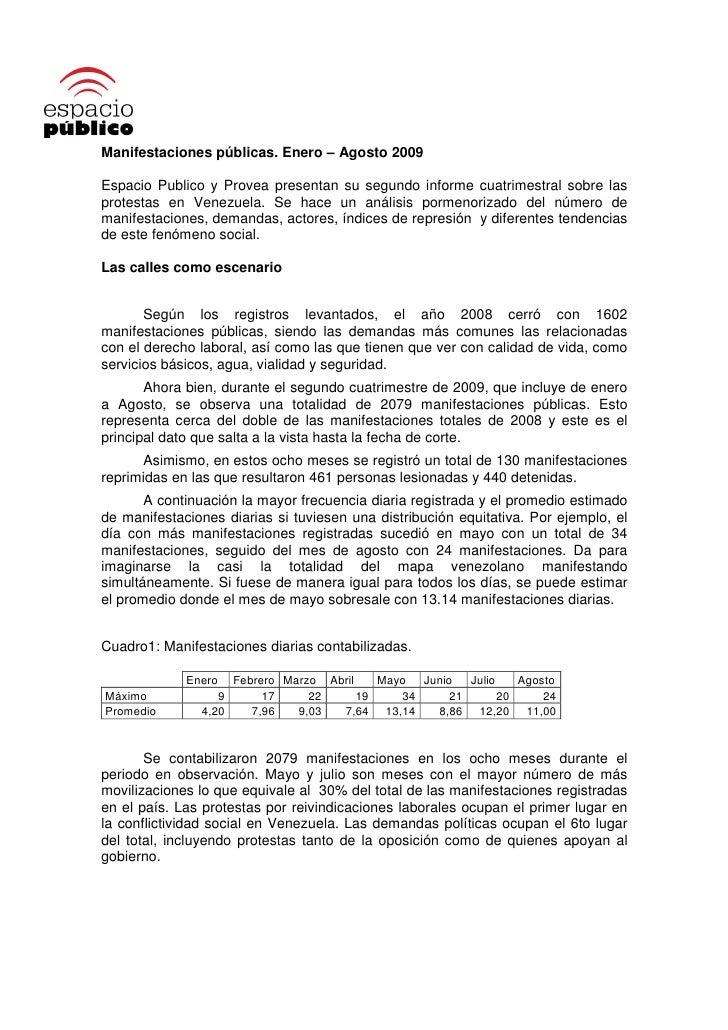 Manifestaciones públicas. Enero – Agosto 2009  Espacio Publico y Provea presentan su segundo informe cuatrimestral sobre l...