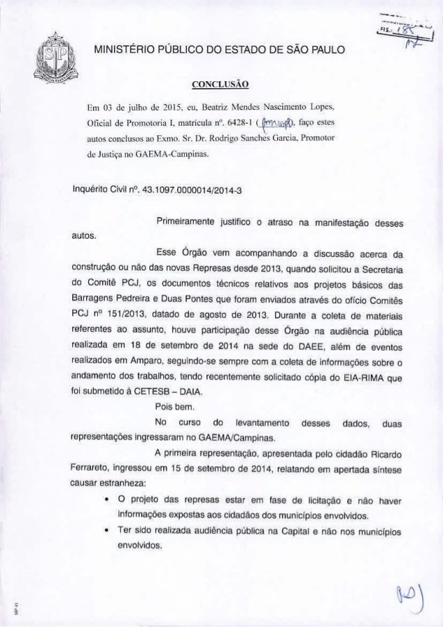 ,, MINISTÉRIO PÚBLICO DO ESTADO DE SÃO PAULO CO:'llCLlISÃO Em 03 d~ julho J~2015. cu. Beatriz ~knJcs Nascimento !.ope,>. O...