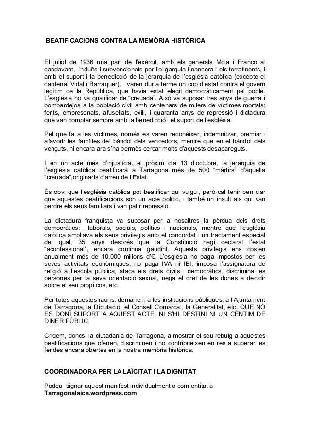 BEATIFICACIONS CONTRA LA MEMÒRIA HISTÒRICA El juliol de 1936 una part de l'exèrcit, amb els generals Mola i Franco al capd...