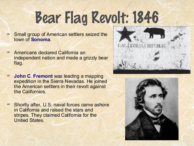 the bear flag revolt The bear flag revoltwhat was the bear flag revolt the bear flag revolt was when the americans overthrew the mexicans declaring california to be an independent nationthe rebels raised a made flag above the town that had a grizzly bear facing a red staralthough california laughed at the made flag because they thought it, looked.