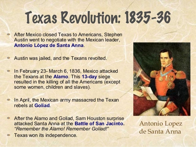 a history of the texas revolution and antonio lopez de santa annas influence on its beginning History of san antonio and northeast of san antonio when antonio lópez de santa san antonio missions: spanish influence in texas, a national park.