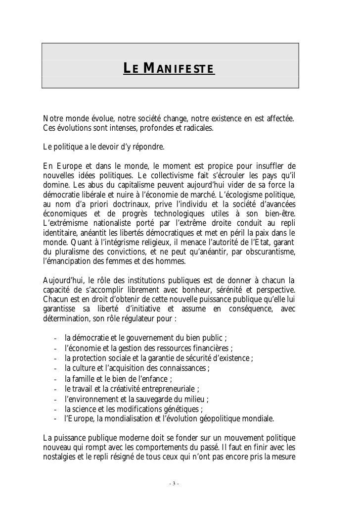 Le Manifeste du Mouvement Réformateur Slide 3