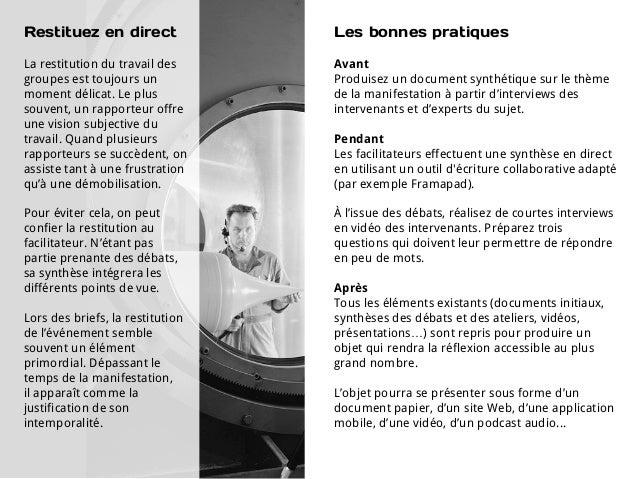 Restituez en direct               Les bonnes pratiquesLa restitution du travail des     Avantgroupes est toujours un      ...