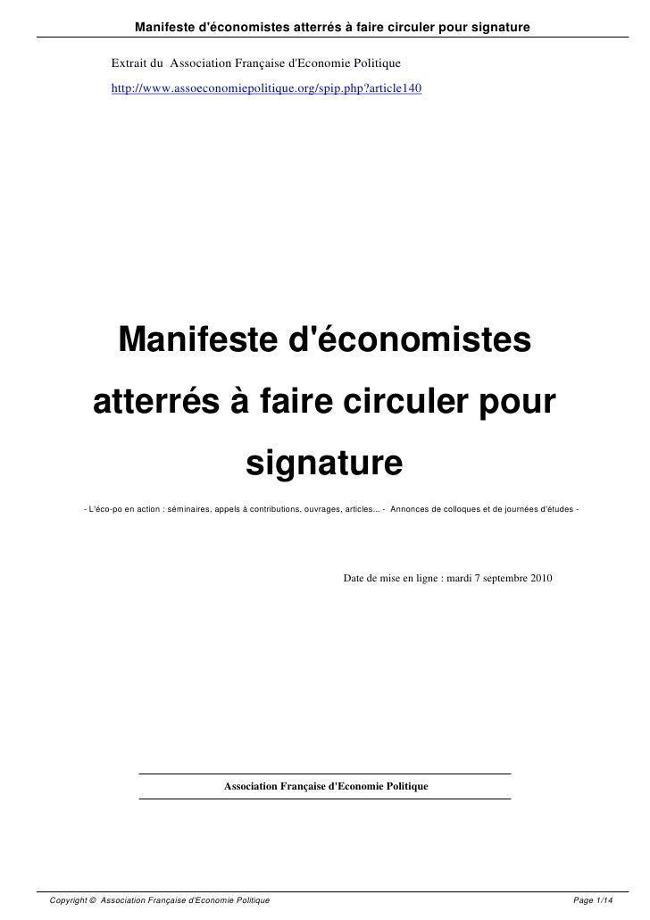 Manifeste d'économistes atterrés à faire circuler pour signature                 Extrait du Association Française d'Econom...