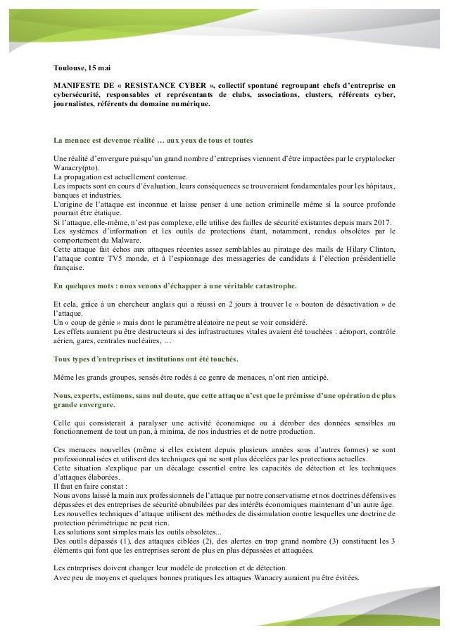 Toulouse, 15 mai MANIFESTE DE « RESISTANCE CYBER », collectif spontané regroupant chefs d'entreprise en cybersécurité, res...