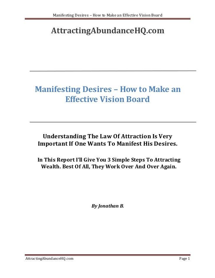 Manifesting Desires – How to Make an Effective Vision Board             AttractingAbundanceHQ.com    Manifesting Desires –...