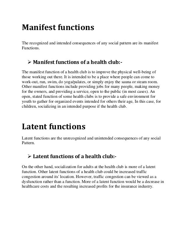 2.  sc 1 st  SlideShare & Manifest latent functions of health club