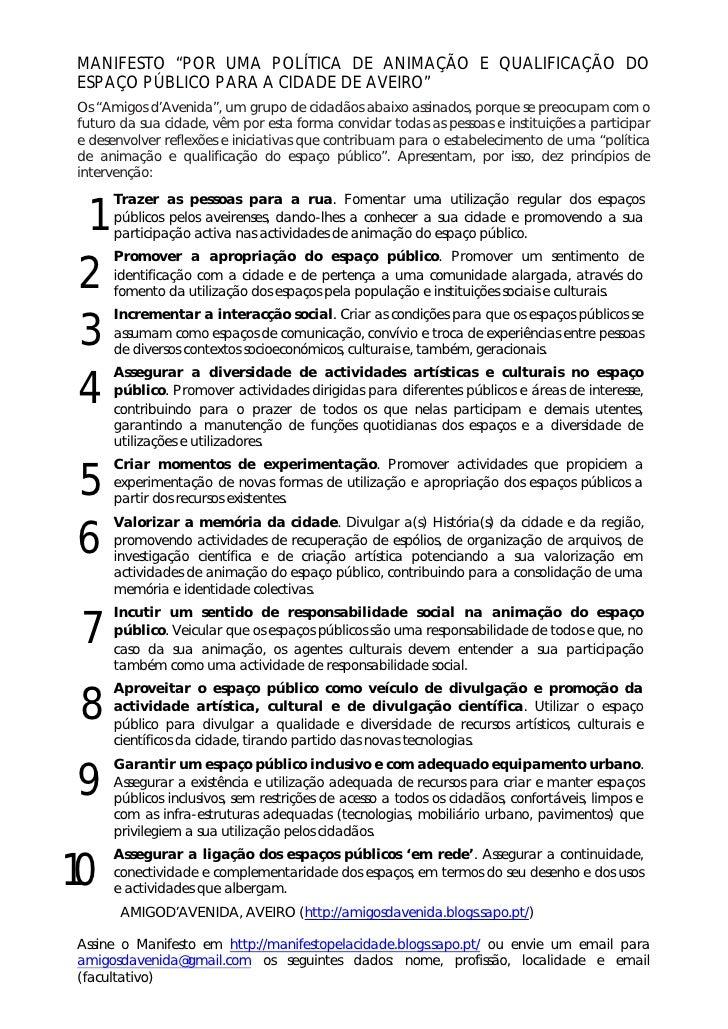 """MANIFESTO """"POR UMA POLÍTICA DE ANIMAÇÃO E QUALIFICAÇÃO DO ESPAÇO PÚBLICO PARA A CIDADE DE AVEIRO"""" Os """"Amigos d'Avenida"""", u..."""
