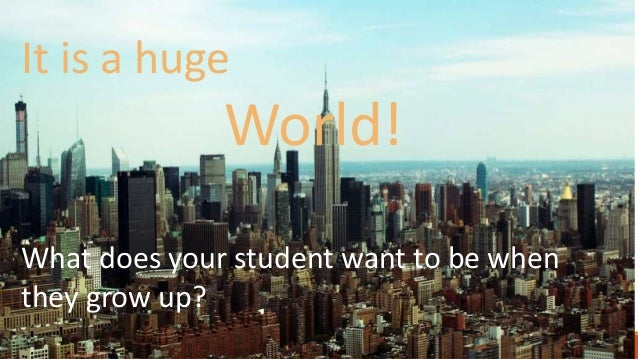 It is a huge World! What does your student want to be when they grow up?