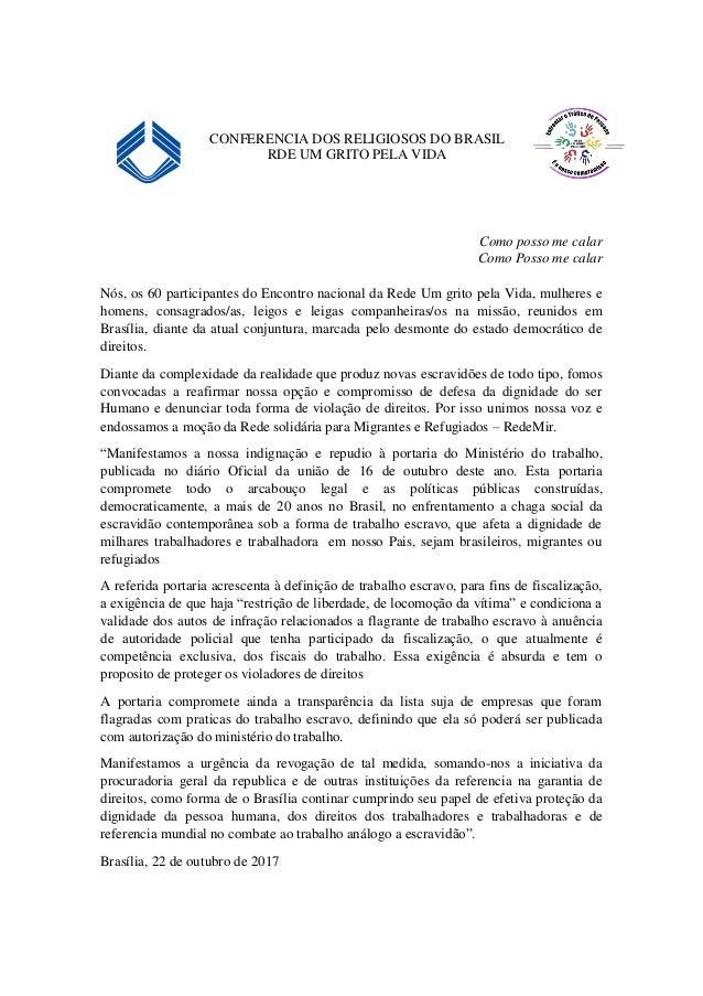 CONFERENCIA DOS RELIGIOSOS DO BRASIL RDE UM GRITO PELA VIDA Como posso me calar Como Posso me calar Nós, os 60 participant...