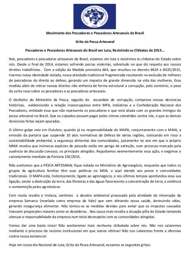 Movimento dos Pescadores e Pescadoras Artesanais do Brasil Grito da Pesca Artesanal Pescadores e Pescadoras Artesanais do ...