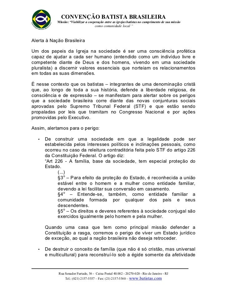 """CONVENÇÃO BATISTA BRASILEIRA            Missão: """"Viabilizar a cooperação entre as igrejas batistas no cumprimento de sua m..."""