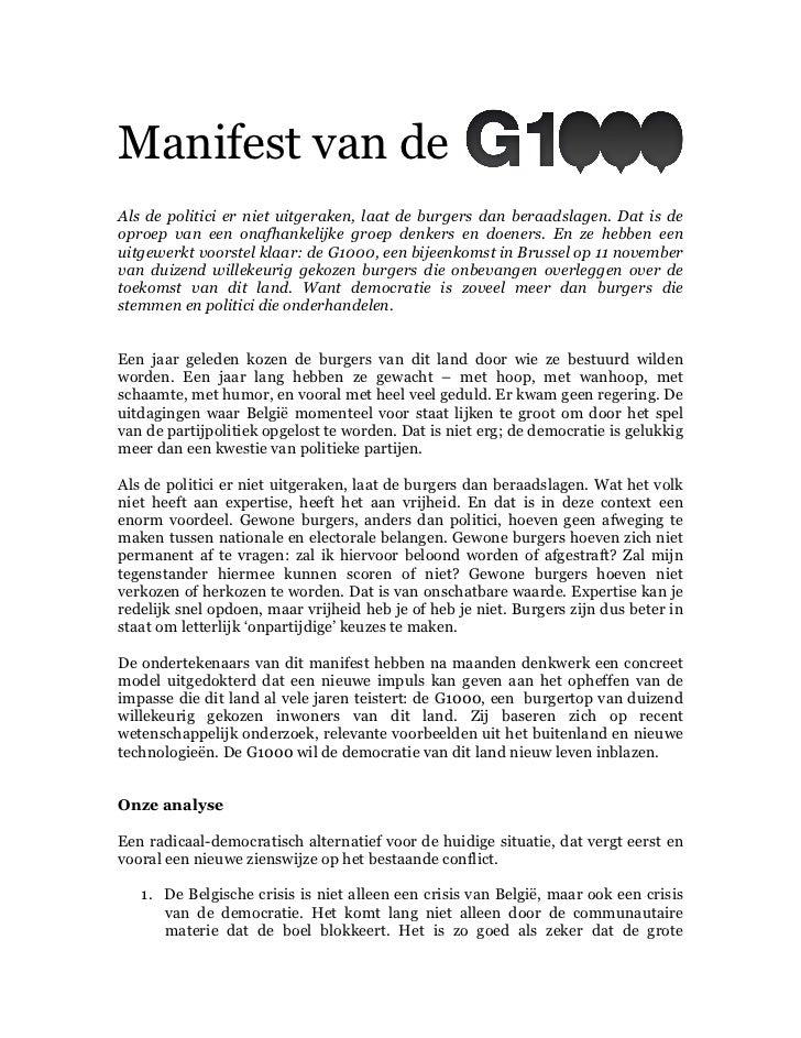 Manifest van deAls de politici er niet uitgeraken, laat de burgers dan beraadslagen. Dat is deoproep van een onafhankelijk...