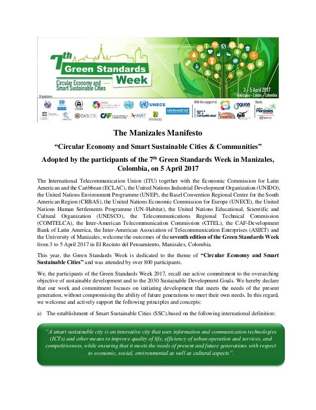 "The Manizales Manifesto ""Circular Economy and Smart Sustainable Cities & Communities"" Adopted by the participants of the 7..."