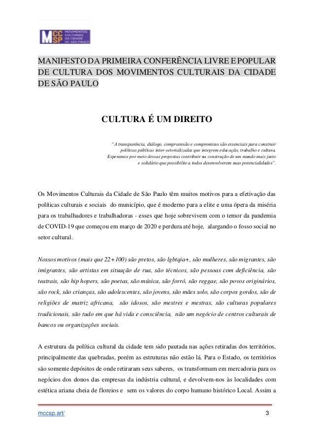 RESULTADO DA PRIMEIRA CONFERÊNCIA LIVRE POPULAR DOS MOVIMENTOS CULTURAIS SP Slide 3