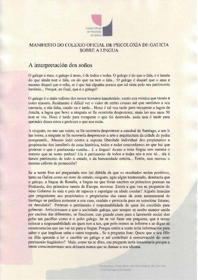 ColerioO ficial  de Psicolcxía  ¿  de Galicia  MANIFESTO DO COLEXIO OFICIAL DE PSICOLOXÍA PP GALICIA  SOBRE A LINGUA  A in...