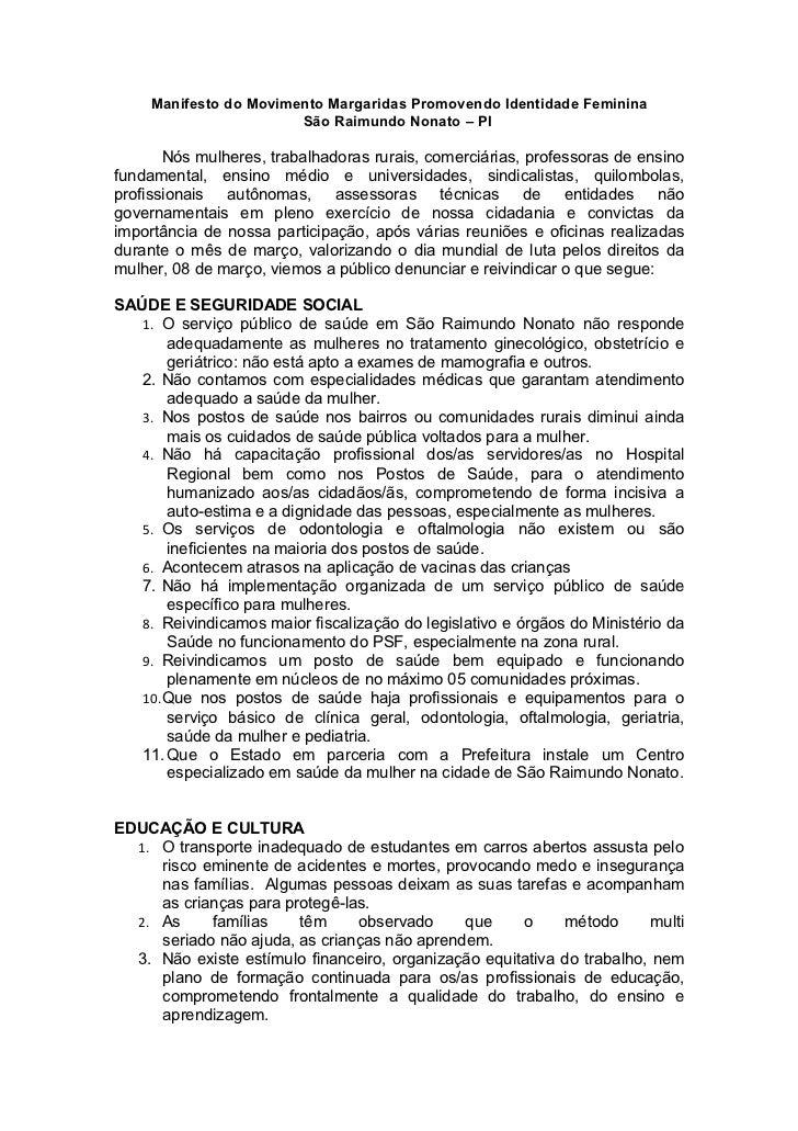 Manifesto do Movimento Margaridas Promovendo Identidade Feminina                        São Raimundo Nonato – PI       Nós...