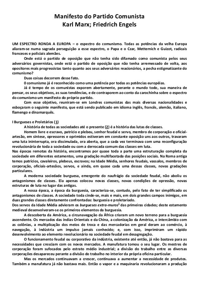 Manifesto do Partido Comunista Karl Marx; Friedrich Engels UM ESPECTRO RONDA A EUROPA – o espectro do comunismo. Todas as ...