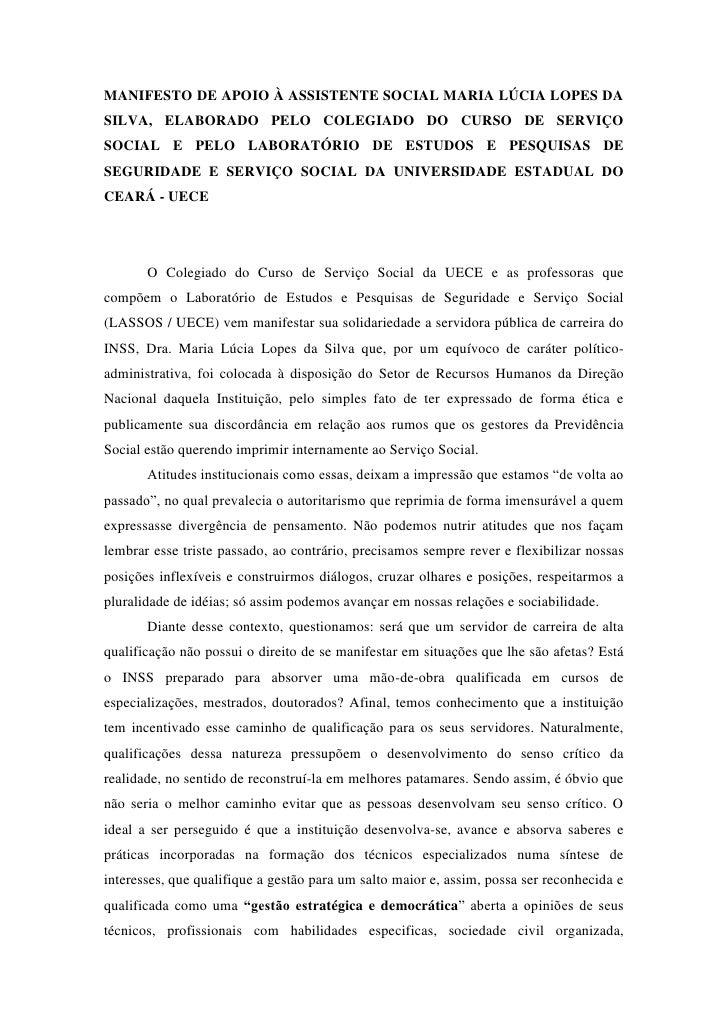 MANIFESTO DE APOIO À ASSISTENTE SOCIAL MARIA LÚCIA LOPES DASILVA, ELABORADO PELO COLEGIADO DO CURSO DE SERVIÇOSOCIAL E PEL...