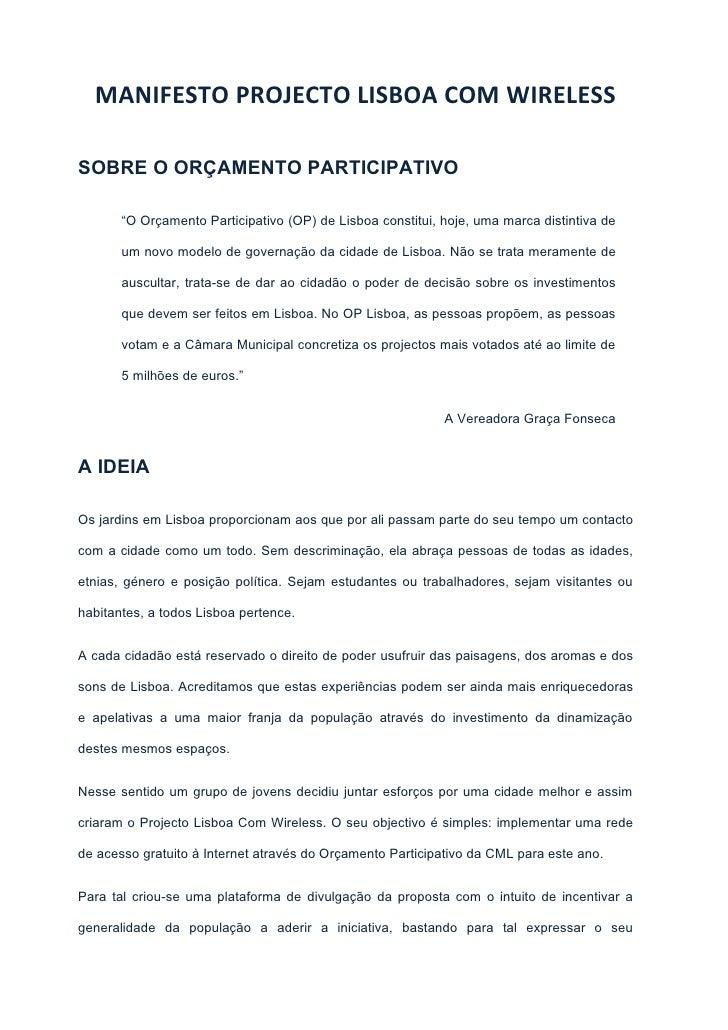"""MANIFESTO PROJECTO LISBOA COM WIRELESSSOBRE O ORÇAMENTO PARTICIPATIVO       """"O Orçamento Participativo (OP) de Lisboa cons..."""
