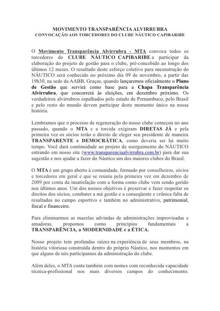 MOVIMENTO TRANSPARÊNCIA ALVIRRUBRA CONVOCAÇÃO AOS TORCEDORES DO CLUBE NÁUTICO CAPIBARIBEO Movimento Transparência Alvirrub...