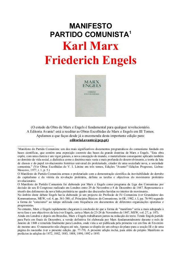 MANIFESTOPARTIDO COMUNISTA1Karl MarxFriederich Engels(O estudo da Obra de Marx e Engels é fundamental para qualquer revolu...