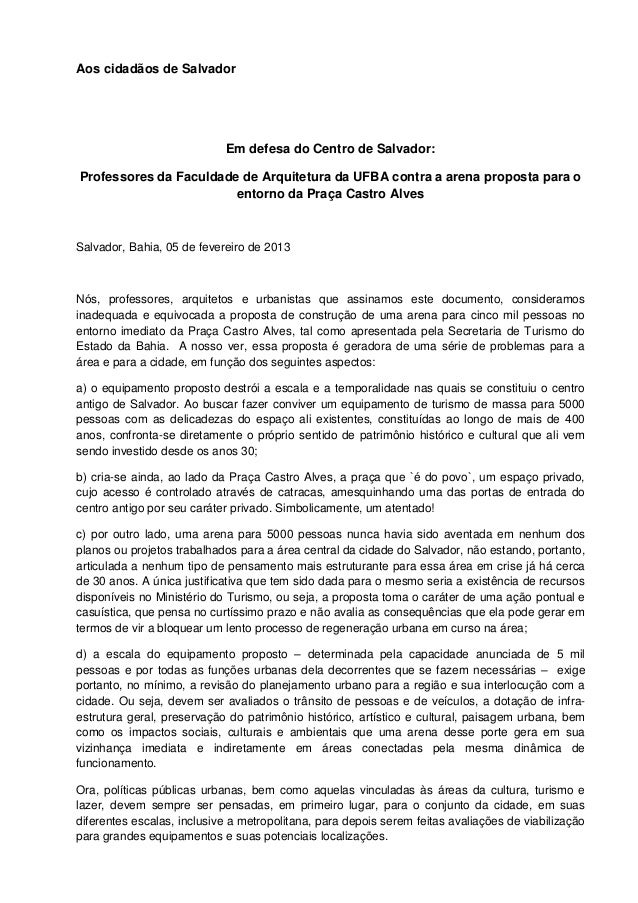 Aos cidadãos de Salvador                            Em defesa do Centro de Salvador:Professores da Faculdade de Arquitetur...
