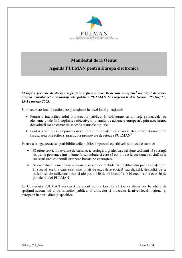 Oeiras_v2.1_5mar Page 1 of 4 Manifestul de la Oeiras Agenda PULMAN pentru Europa electronică Miniştrii, forurile de decizi...