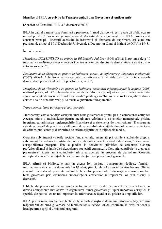 Manifestul IFLA cu privire la Transparenţă, Buna Guvernare şi Anticorupţie (Aprobat de Consiliul IFLA la 3 decembrie 2008)...