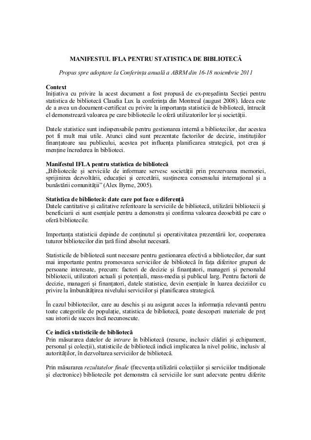 MANIFESTUL IFLA PENTRU STATISTICA DE BIBLIOTECĂ Propus spre adoptare la Conferinţa anuală a ABRM din 16-18 noiembrie 2011 ...
